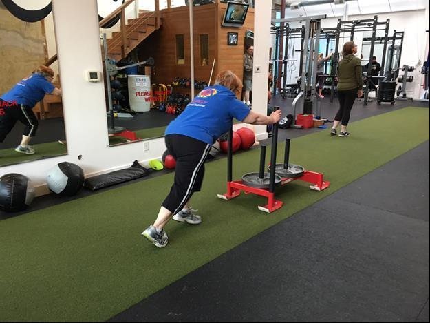 Client doing weight loss conditioning